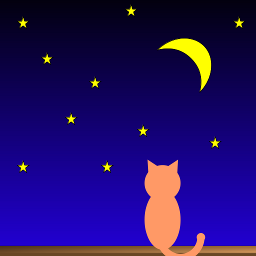 Just a lonely orange cat watching the moon from the windowsill on a starry night.